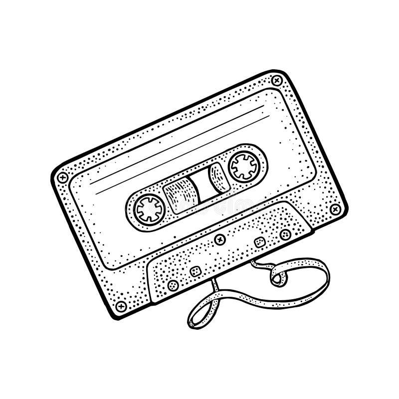 Casete audio retro con la cinta enredada Ejemplo del grabado del negro del vector del vintage ilustración del vector