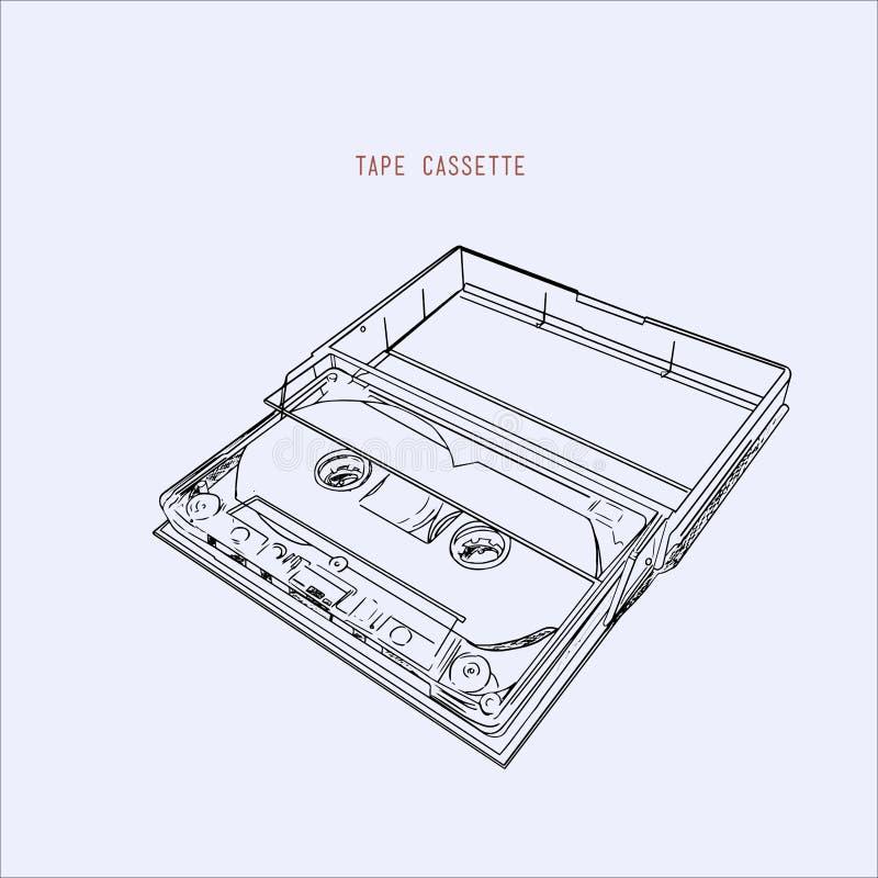 Casete de cinta de audio del vintage, vector del ejemplo libre illustration