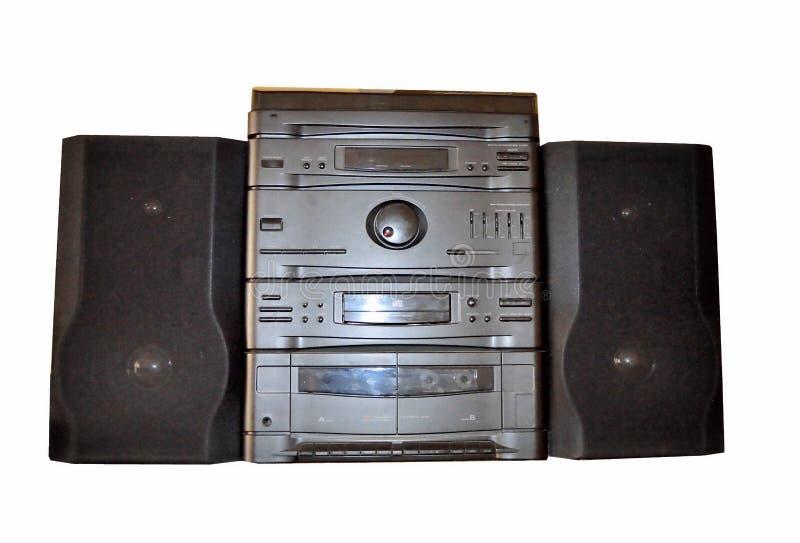 Casete de radio, casete del Cd, fondo blanco imagen de archivo libre de regalías