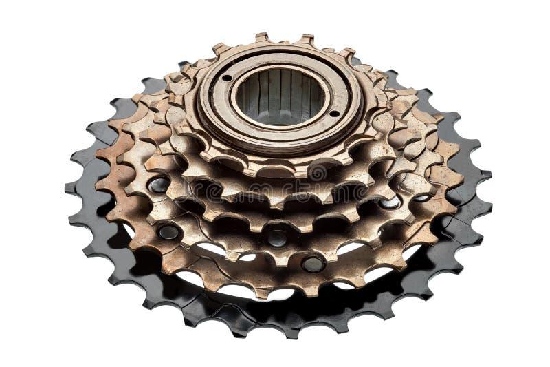 Casete posterior de la bici, estrellas de velocidades foto de archivo libre de regalías