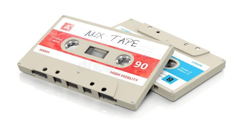 Casetes audios del vintage, cinta de la mezcla del texto en la etiqueta, aislada en el fondo blanco ilustración 3D ilustración del vector