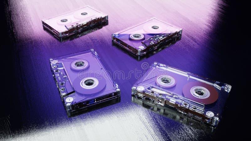 Casetes audios en la superficie de madera azul Concepto retro de la música representación 3d imagenes de archivo