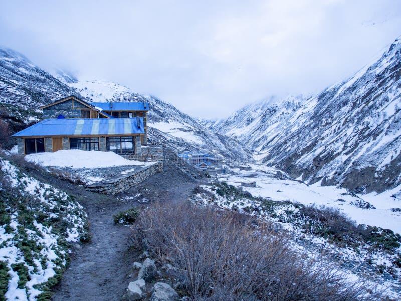 Casetta blu del tetto sulla montagna della neve e for Tegole del tetto della casetta