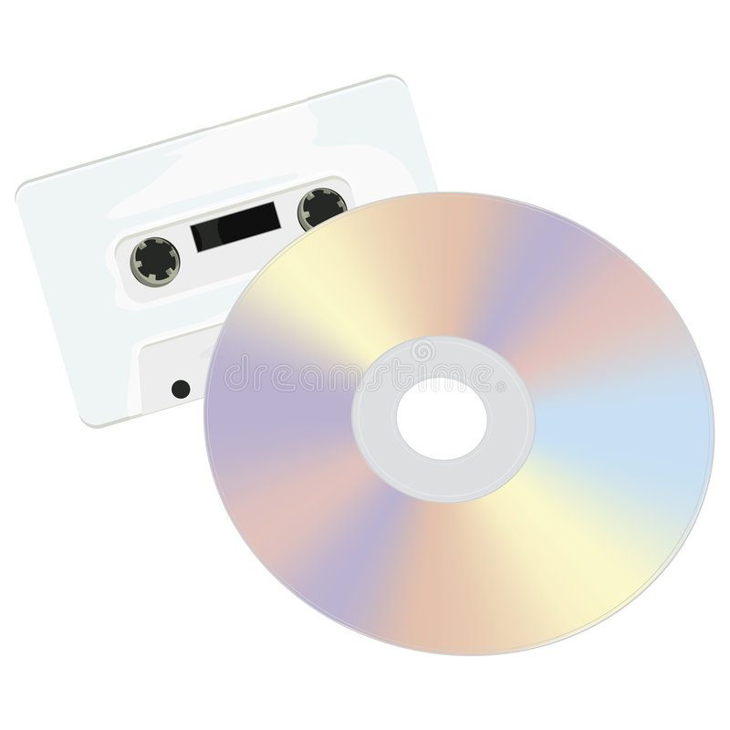 Casette and CD with clipping path. Rasterized Original Vector Artwork royalty free illustration