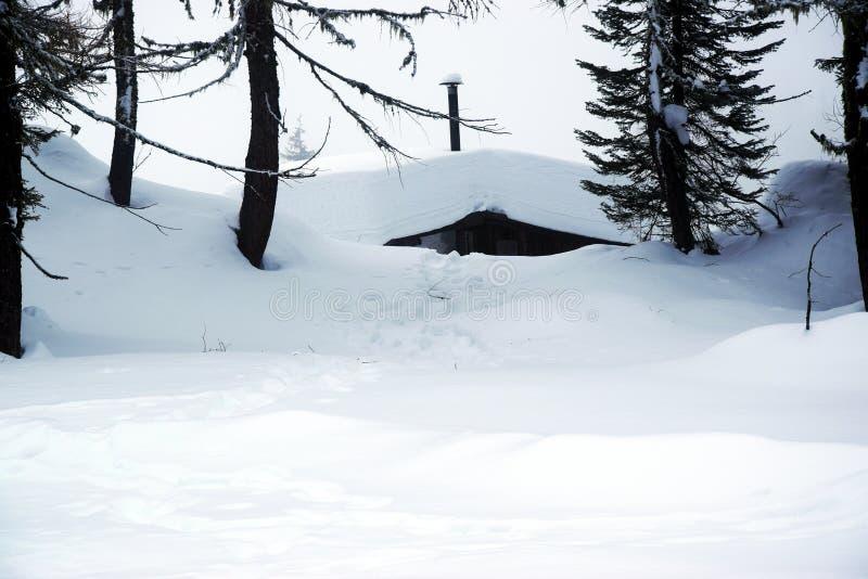 Casette, paesaggio, ghiaccio, fondo del tetto della neve, inverno in montagne di Dolomiti, in Cadore, l'Italia immagine stock
