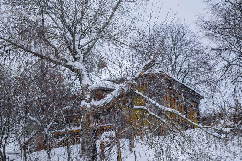 Casette rurali in Zarajsk in precipitazioni nevose fotografie stock libere da diritti