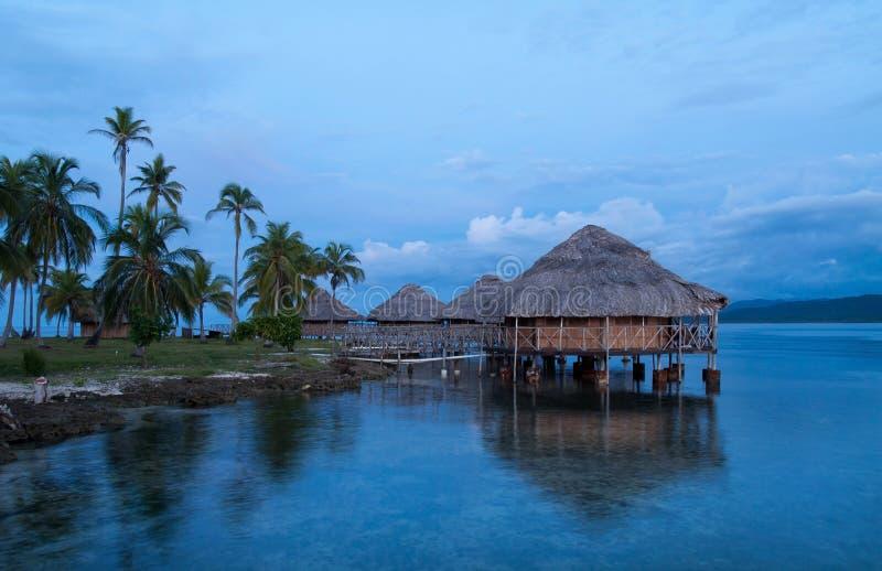 Casette su acqua, isole del San Blas fotografie stock libere da diritti