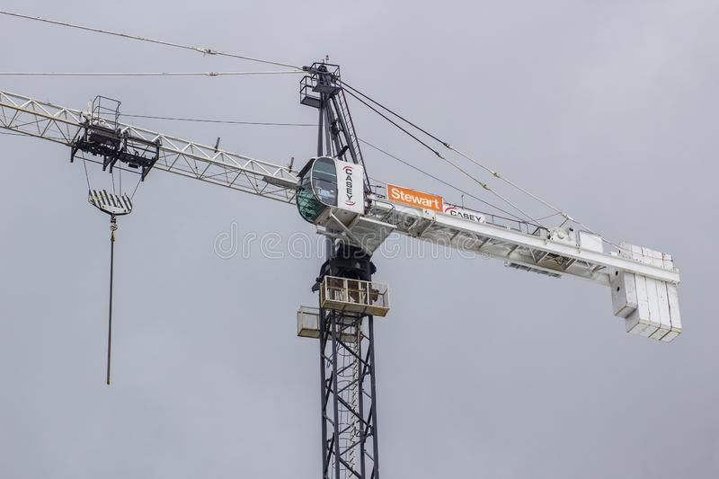 Casey Tower Crane op plaats in Dublin City stock fotografie