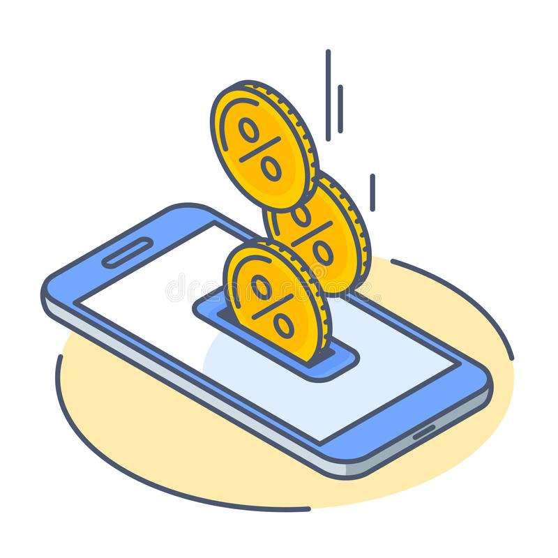 The cash back droping into phone screen stock photo