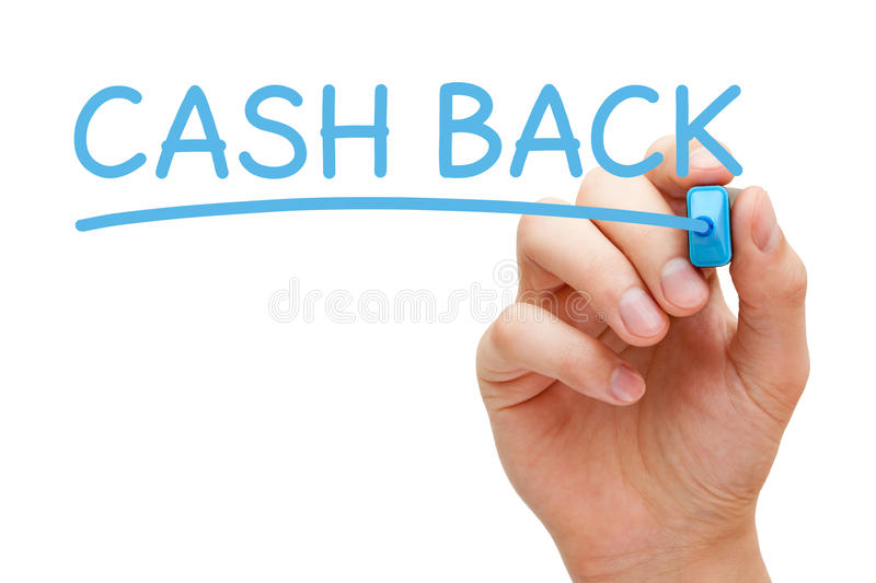 Cash Back Handwriting With Blue Marker stock photography