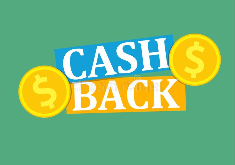 Cash back icon. With coins. cashback or money refund label. Vector illustration in flat style royalty free illustration