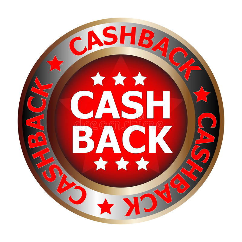 Cash back icon. Large circular sticker or icon with the words Cash back royalty free stock photos
