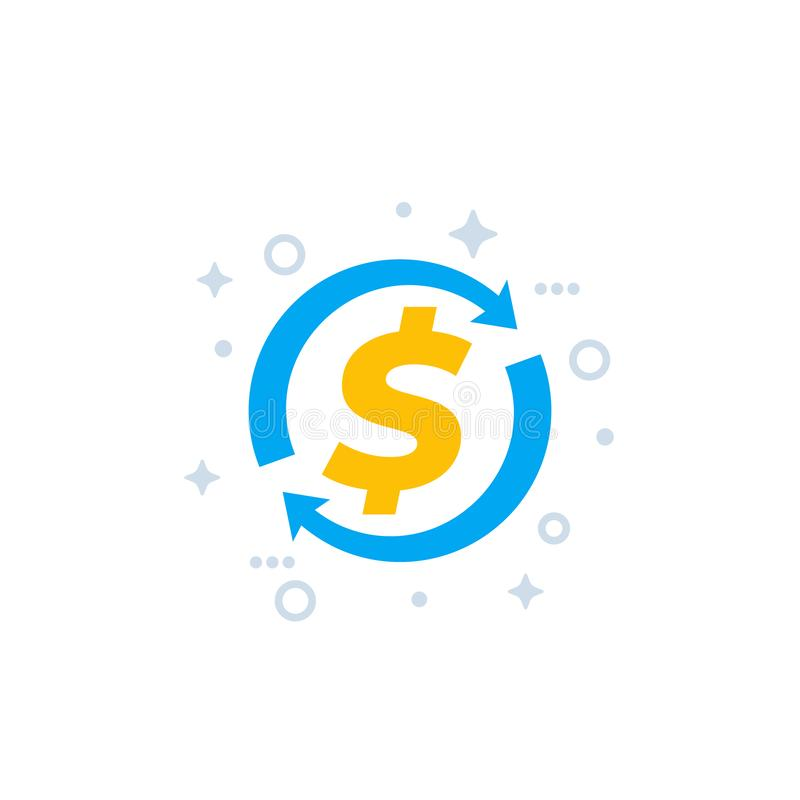 Cash back, money refund and exchange vector icon vector illustration