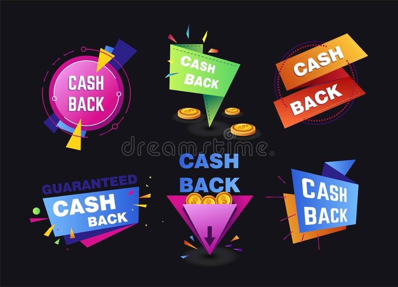 Cash back service shopping and money return isolated icons royalty free stock photos