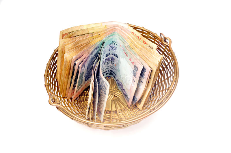 Cash In Basket Royalty Free Stock Photo
