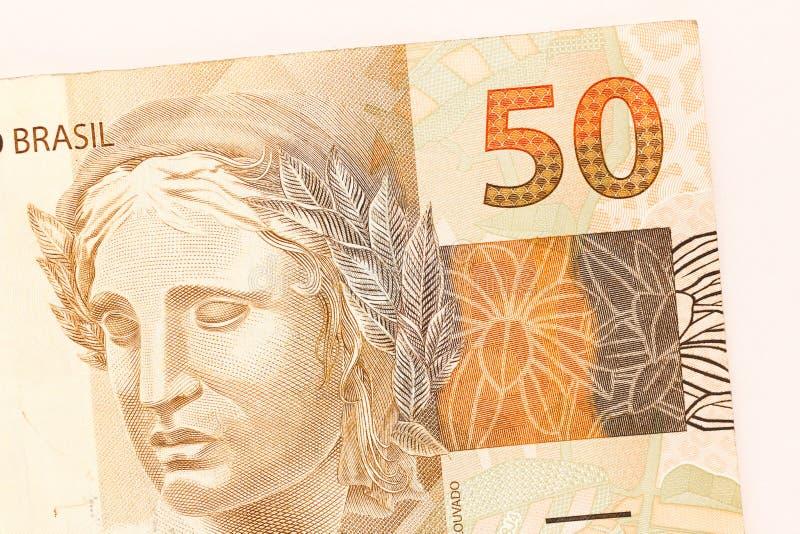 Cash Bills From Brazilian Currency. Detail Close Up Shot ...