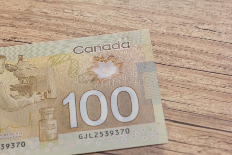 Canadian Dollars And Brazilian Currency  Bils On Wood Rustic Tab