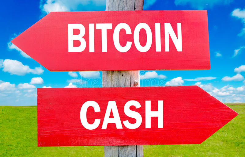 Cash and bitcoin. Bitcoin and cash way choice showing strategy change or dilemmas royalty free stock photography