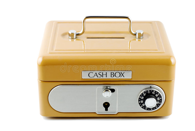 Cash Box. Isolated in white royalty free stock photo