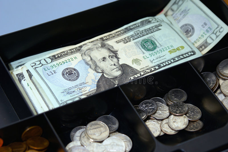 Download Cash box stock image. Image of dimes, coins, compartments - 6491321