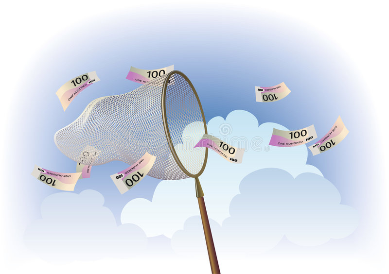 Cash catching. A butterfly net is catching banknotes flowing by wind