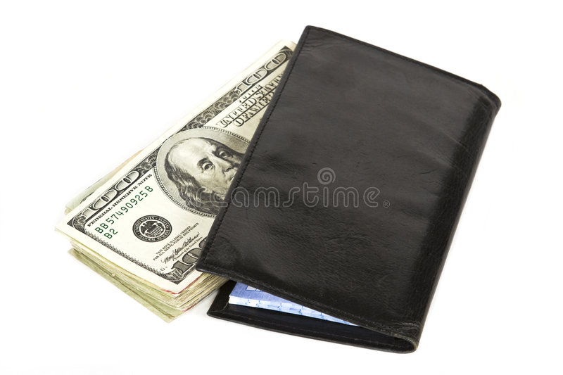 Cash in Checkbook. Cash in your checkbook is safer than in your bank isolated on a white background royalty free stock photo