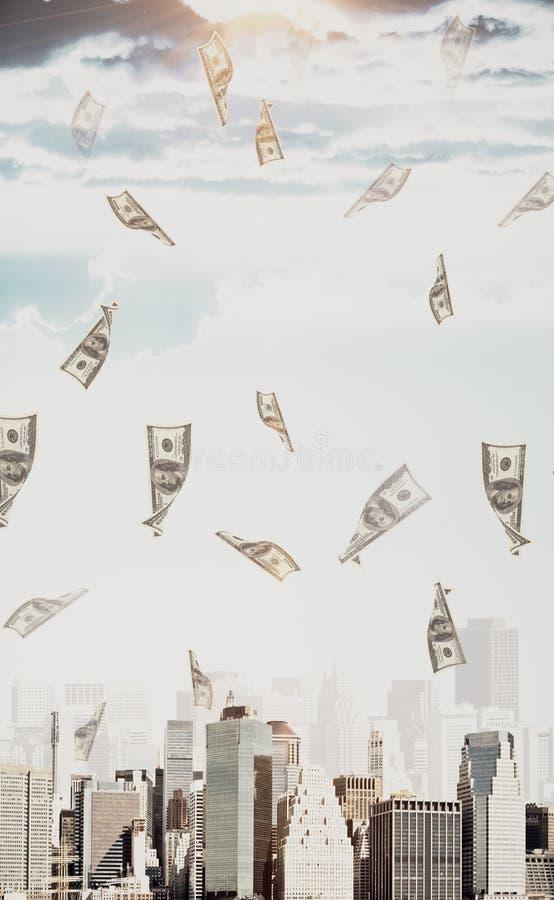 Cash concept. Abstrat dollar bill rain in city with sunlight. Cash concept stock photos
