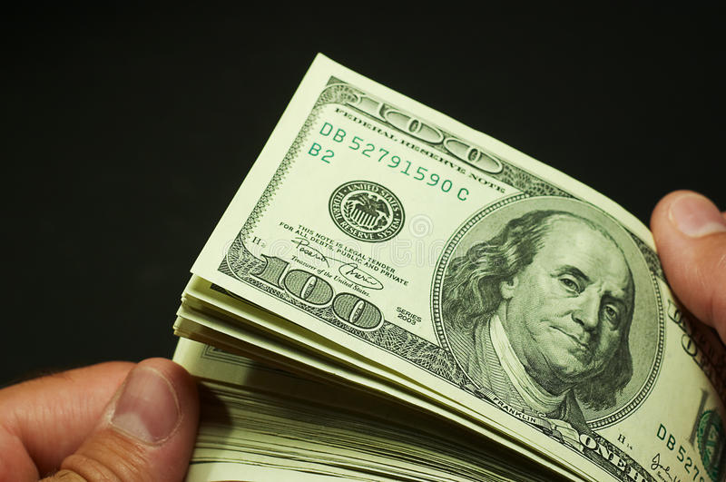Cash counting - US dollars royalty free stock photography