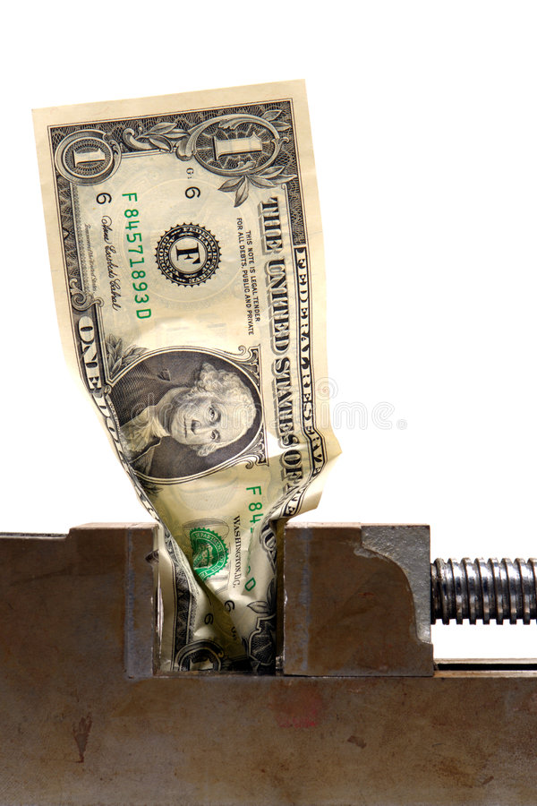 Free Cash Crunch Money Dollar Bill Crushed In Vise Stock Image - 1927291