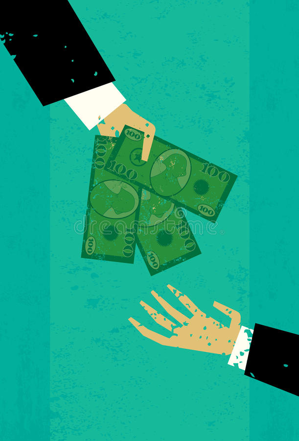Cash Deal. A hand paying another hand cash stock illustration
