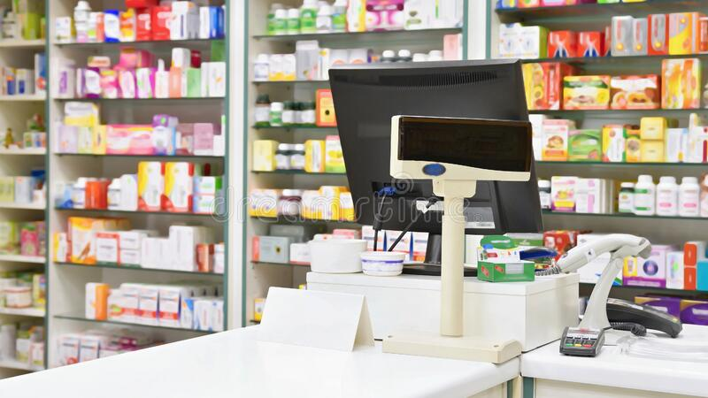 Cash Desk Computer And Monitor In A Pharmacy Interior Of Drug And Vitamins Shop Medicines And Vitamins For Health And Healthy Stock Photo Image Of Illness Medicine 107669696