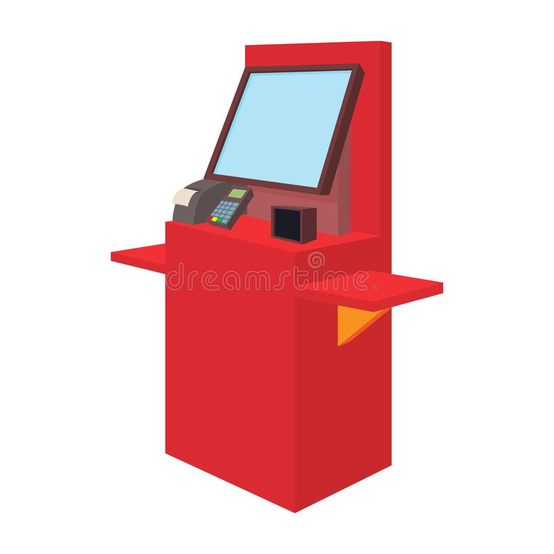Cash desk with terminal in supermarket icon vector illustration