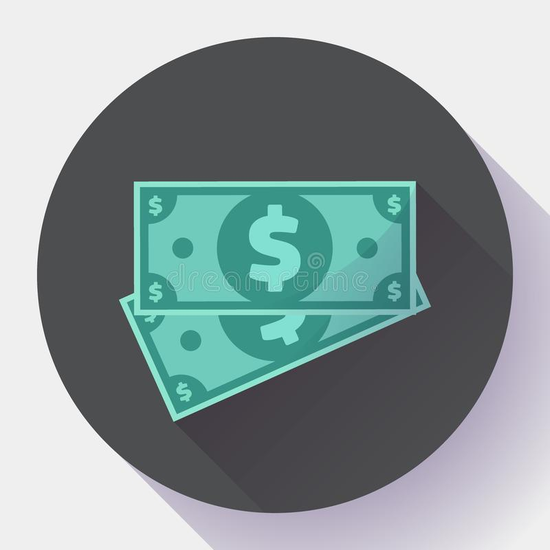 Cash Dollar icon vector in flat style - usa money and currency bill symbol vector illustration
