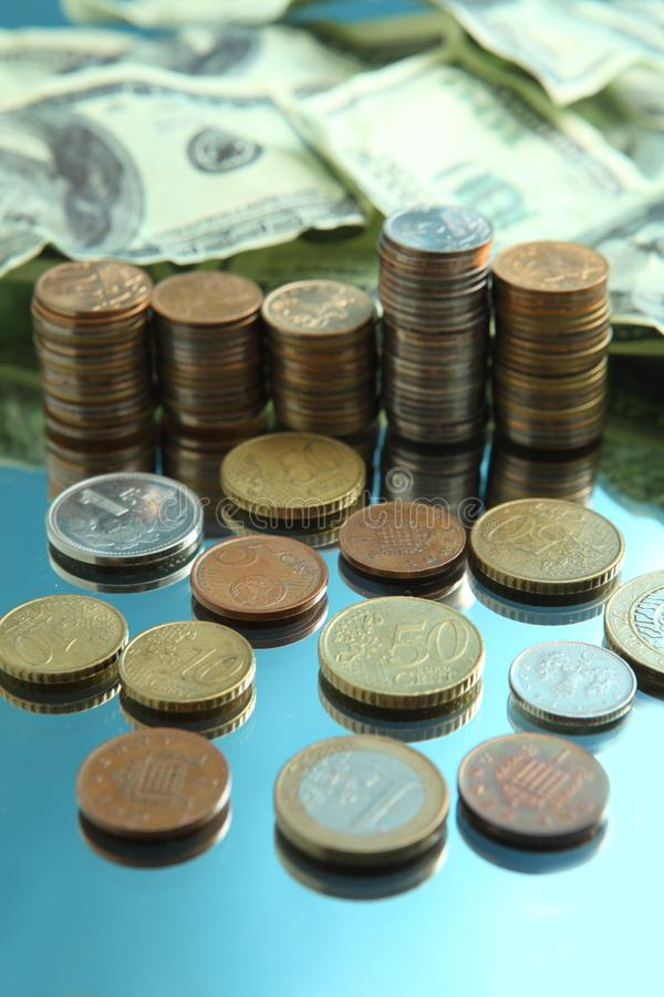 Download Cash Dollars And Pile Of Coins Stock Image - Image of reflection, dollar: 8568623