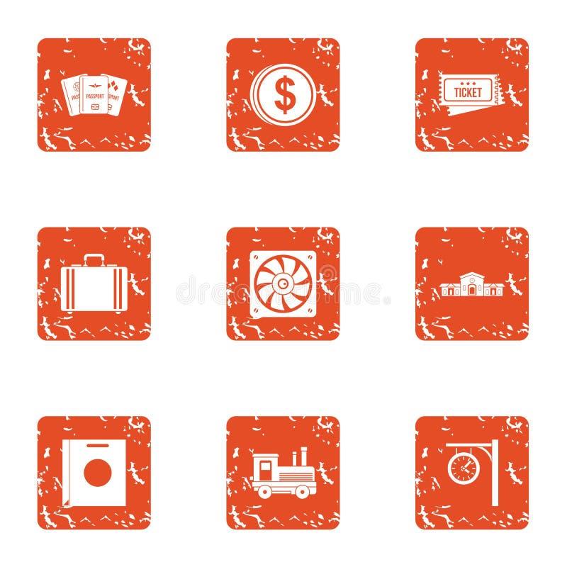 Cash drawer icons set, grunge style. Cash drawer icons set. Grunge set of 9 cash drawer vector icons for web isolated on white background royalty free illustration