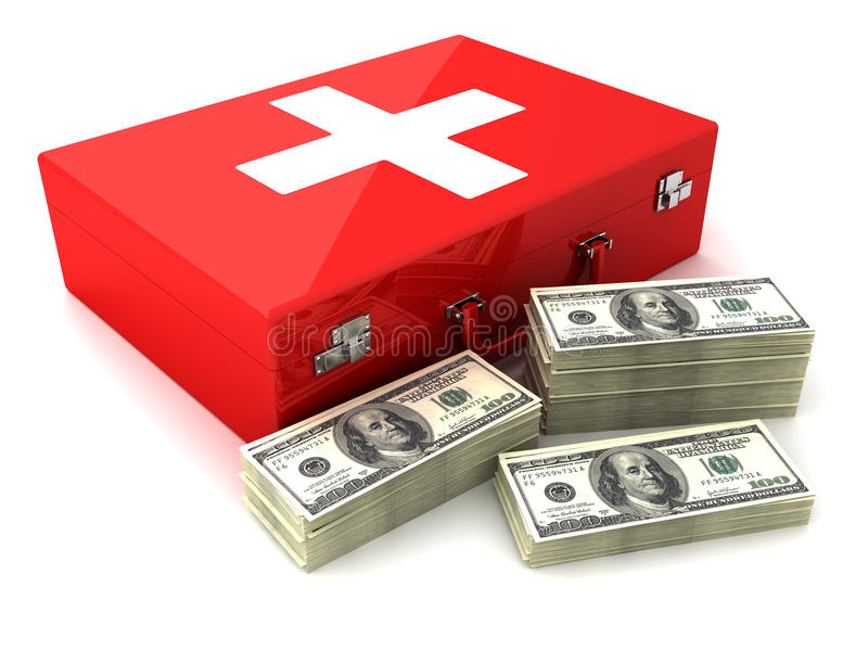Cash and first aid vector illustration