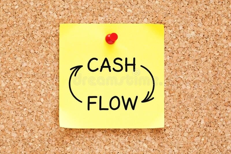 Cash Flow Business Concept On Sticky Note royalty free stock image