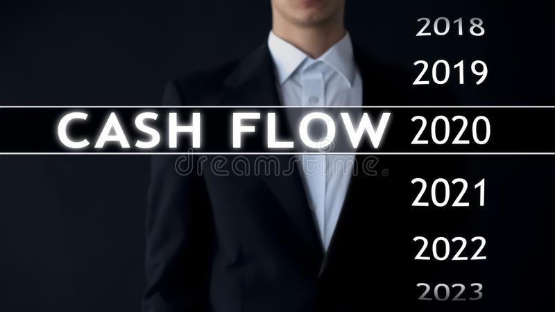 Cash flow for 2020, businessman selects financial report on virtual screen stock images