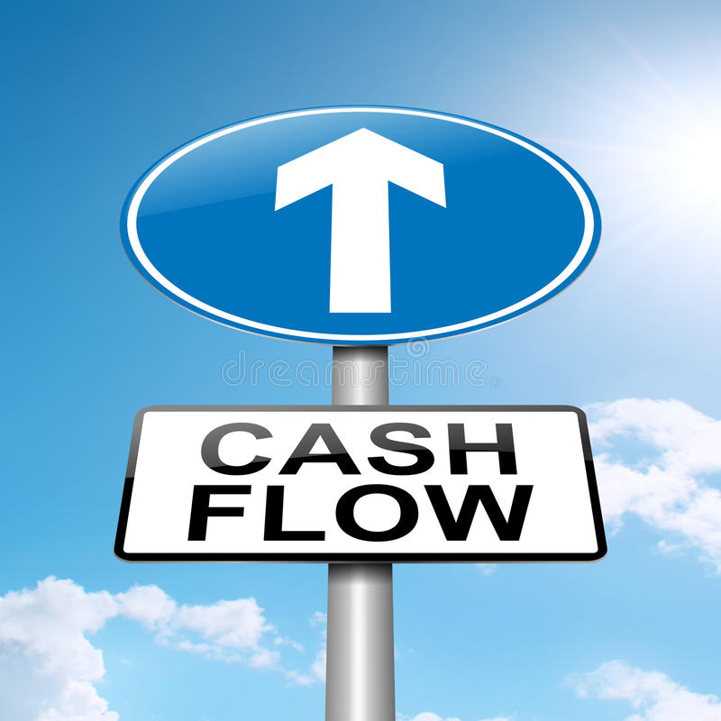 Cash flow concept. Illustration depicting a roadsign with a cash flow concept. Blue sky background royalty free illustration
