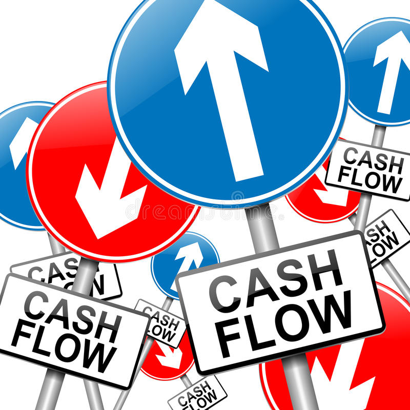 Cash flow concept. Illustration depicting many roadsigns with a cash flow concept. White background royalty free illustration