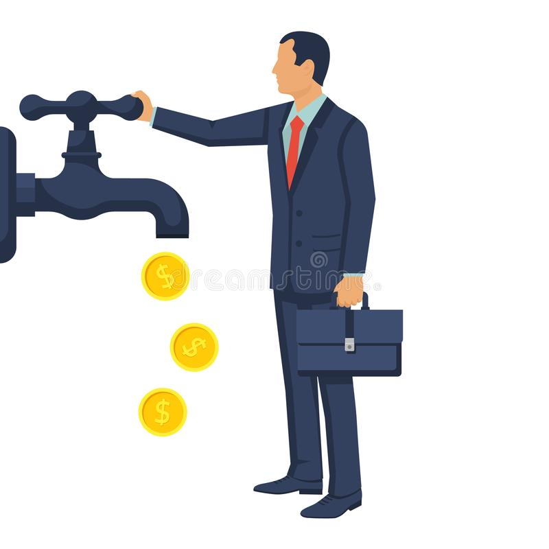 Cash flow concept. Vector illustration flat design. on white background. Businessman open water tap, gold coins fall. Catch money hand. Finance faucet vector illustration