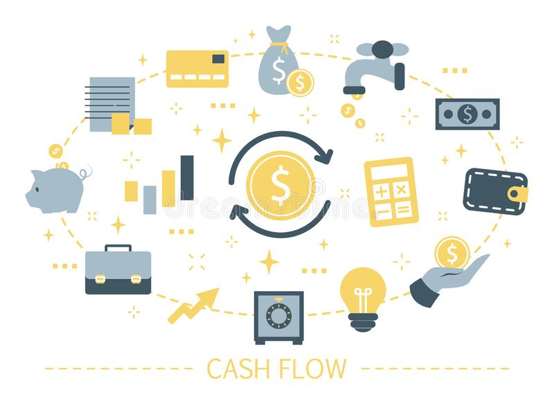 Cash flow concept. Idea of financial growth. And development. Money investment and profit. Invest earnings and get increase. Isolated cartoon vector royalty free illustration