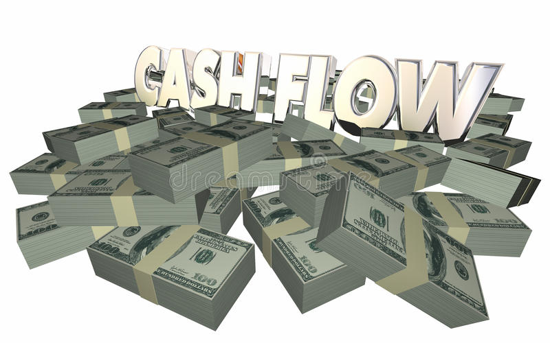 Cash Flow Money Piles Stacks Income Earnings Finances. Cash Flow Money Piles Stacks 3d Words Income Earnings Finances stock illustration