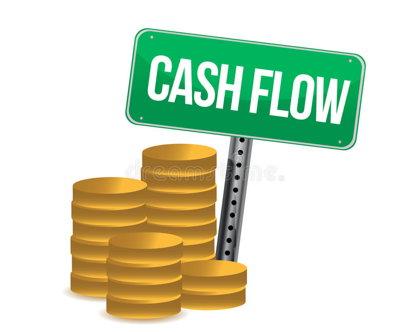 Cash flow and signs. Over white background design over white royalty free illustration