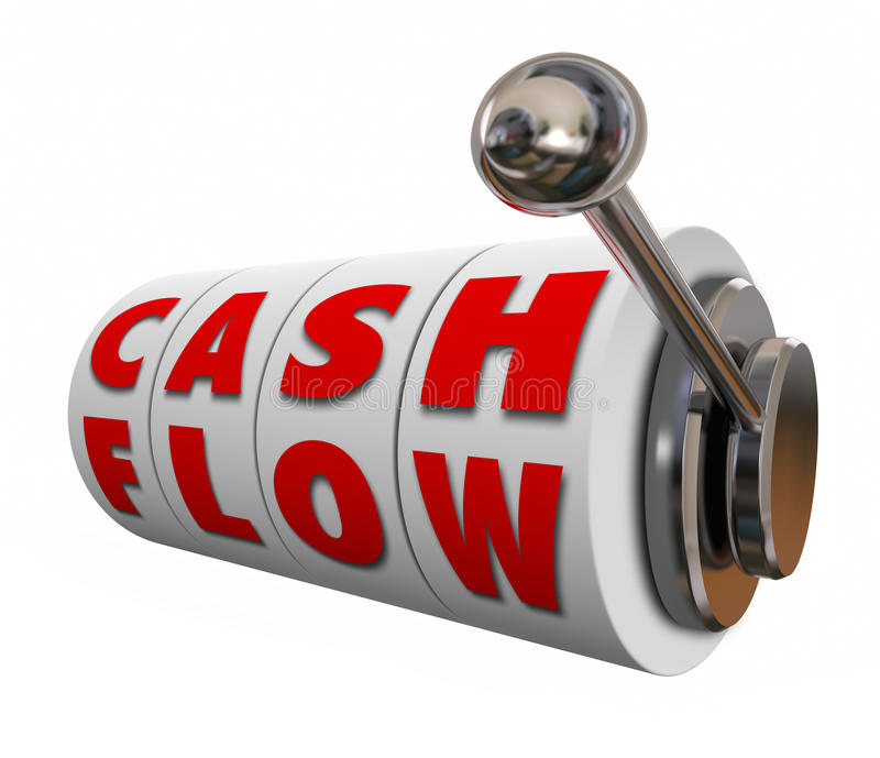 Cash Flow Slot Machine Wheels Increase Income Revenue Money. Cash Flow words on slot machine wheels or dials as money or income earned for your budget or vector illustration