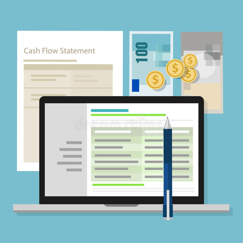 Cash flow statement accounting software money calculator application laptop vector illustration