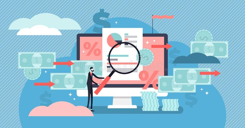 Cash flow vector illustration. Flat tiny money management persons concept. Cash flow vector illustration. Flat tiny money management person concept. Financial royalty free illustration