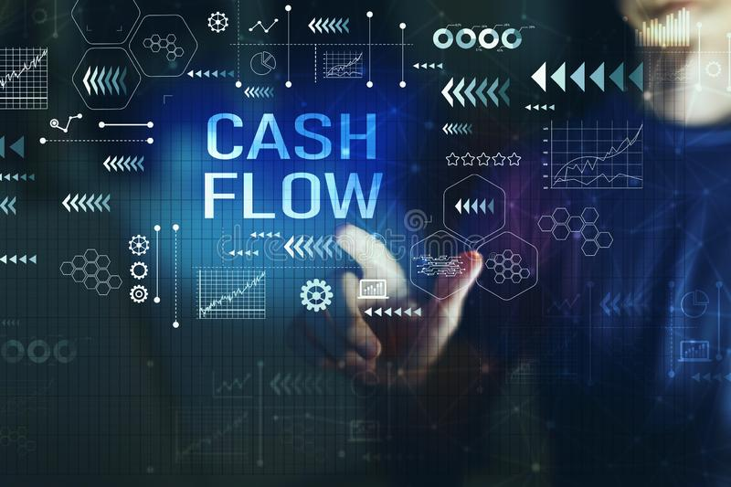 Cash flow with young man royalty free stock photos