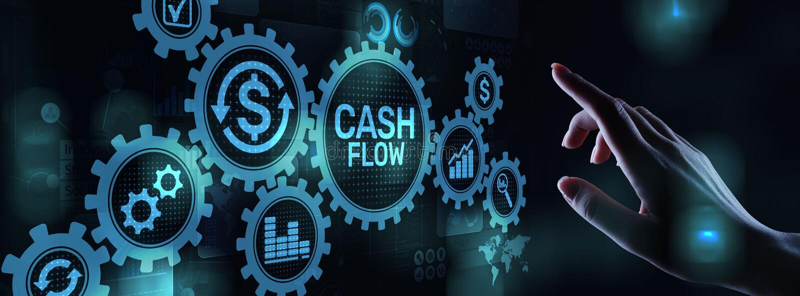 Cash flowknoop op het virtuele scherm Concept het bedrijfs van Tehcnology royalty-vrije stock foto