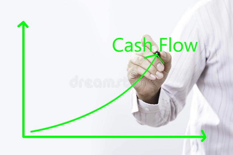 Cash flowtekst met Virtuele de Grafiek Groene lijn van Zakenmanhand point on royalty-vrije stock foto